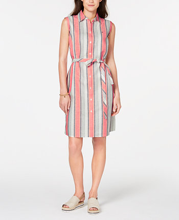 Striped Belted Shirtdress, Created for Macy's Tommy Hilfiger