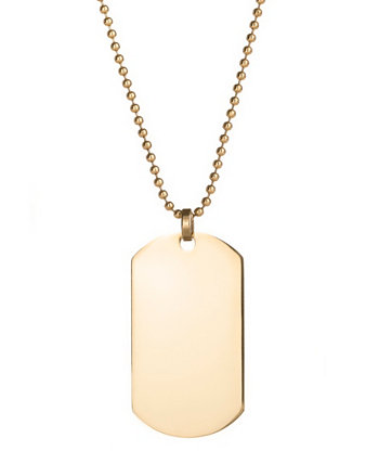 Men's Gold Plated Large Stainless Steel Dog Tag Necklace Eve's Jewelry