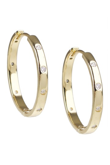 """18K Gold Plated Round Cubic Zirconia Detail 1"""" Huggie Earrings CZ By Kenneth Jay Lane"""