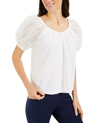 Petite Puff-Sleeve Lace Top, Created for Macy's Charter Club