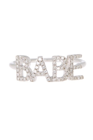 14K White Gold Pave 'BABE' Ring - Size 5 EF Collection