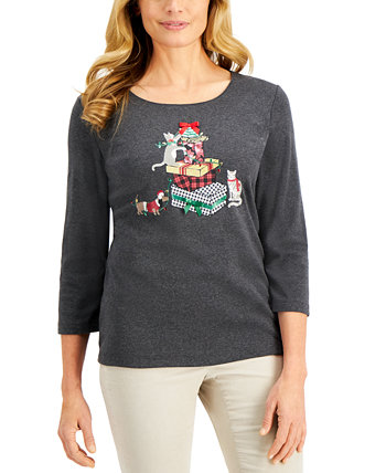 Petite Embellished Graphic Holiday Top, Created for Macy's Karen Scott