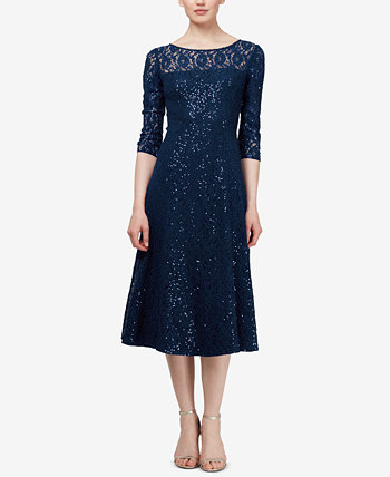 3/4-Sleeve Sequin Lace Dress SL Fashions