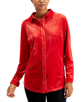 Velour Button-Down Shirt, Created for Macy's Charter Club