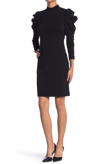 Puffed Shoulder Mock Neck Dress Calvin Klein