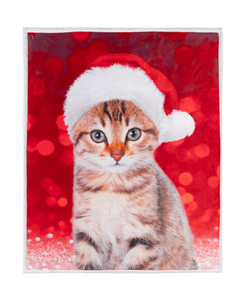Inc Knit Xmas Printed Throws Sherpa Reversible Festive Kitty Safdie & Co