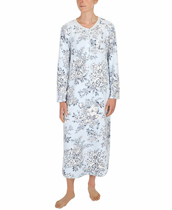 Floral-Print Fleece Long Nightgown Miss Elaine