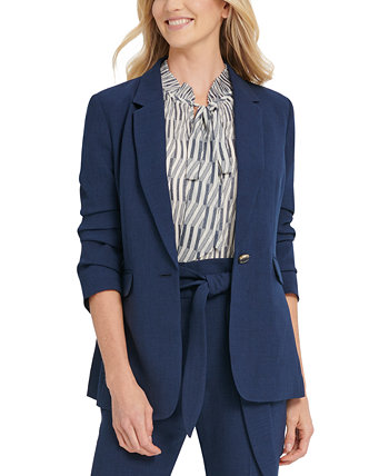 One-Button Ruched-Sleeve Blazer DKNY