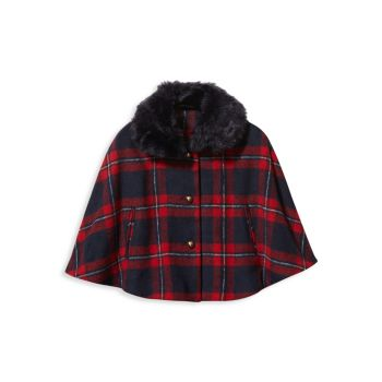 Baby's, Little Girl's & Girl's Plaid Wool-Blend Cape Janie and Jack