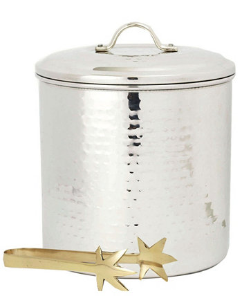 International Hammered Stainless Steel Ice Bucket with Brass Tongs,3-Quart Old Dutch