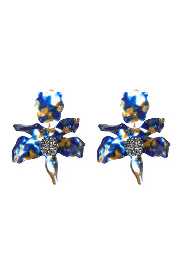 Crystal Lily Pierced Statement Earrings Lele Sadoughi