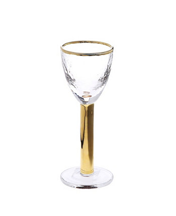 Set of 6 Footed Liquor Glasses with Gold Tone Stem and Rim Classic Touch