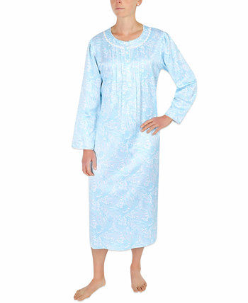 Brushed-Back Satin Long Printed Nightgown Miss Elaine