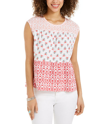 Petite Cotton Tiered Top, Created for Macy's Style & Co