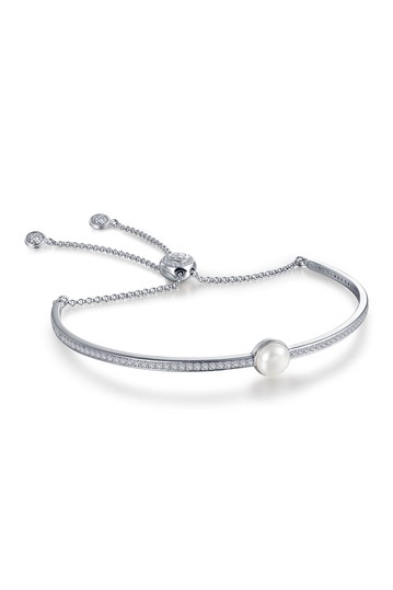 Platinum Plated Sterling Silver 6mm White Freshwater Pearl June Birthstone Bracelet LaFonn