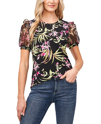 Serene Printed Puff-Sleeve Top CeCe