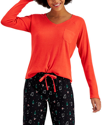 Ribbed Hacci Sweater Knit Pajama Top, Created for Macy's Jenni