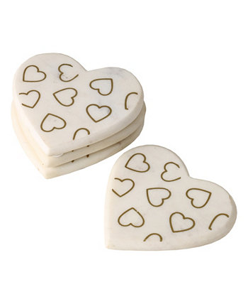 Valentine's Day Marble Heart Coasters, Set of 4, Created for Macy's Martha Stewart Collection