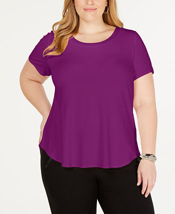 Plus Satin-Trim High-Low T-Shirt, Created for Macy's Alfani