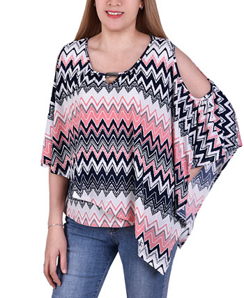 Petite Asymmetric Printed Poncho Top NY Collection