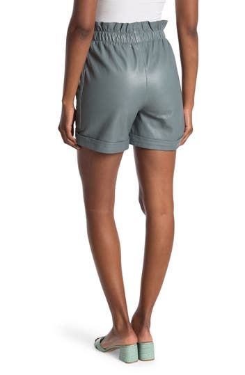 Anna Paperbag Leather Shorts Walter Baker