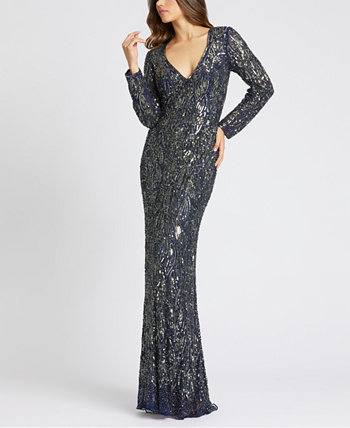 Beaded Long-Sleeve Gown MAC DUGGAL