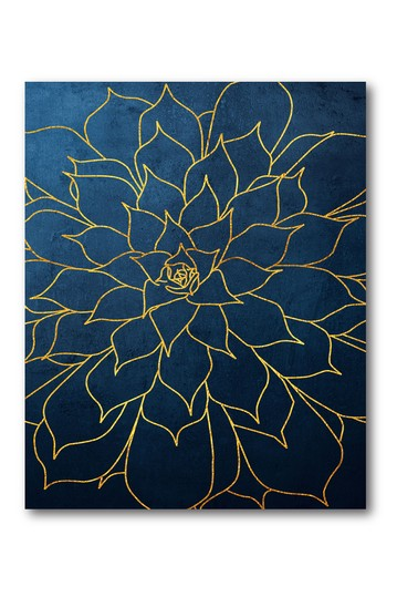 Navy Gold Succulent I Gallery Wrapped Canvas Wall Art Courtside Market