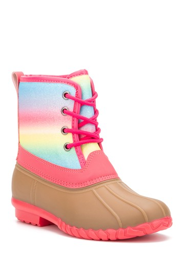 Rainbow Glitter Lace-Up Boot (Toddler, Little Kid, & Big Kid) OLIVIA MILLER