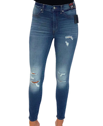Juniors' Distressed Curvy High-Rise Skinny Jeans Celebrity Pink