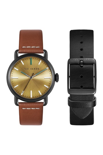Men's Tomcoll Leather Strap Box Set, 40mm Ted Baker