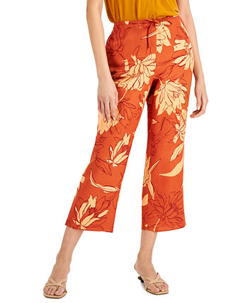 Floral-Print Cropped Drawstring Pants, Created for Macy's Alfani