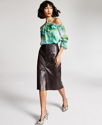 INC Jungle-Print Cold-Shoulder Top, Created for Macy's INC International Concepts