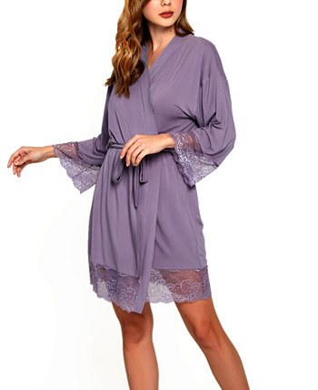 Women's Ultra Soft Robe Trimmed in Tonal Lace ICollection