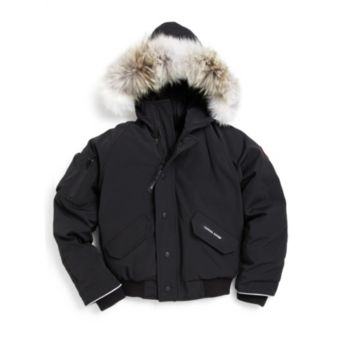 Kid's Rundle Coyote Fur-Trim Down Bomber Jacket Canada Goose