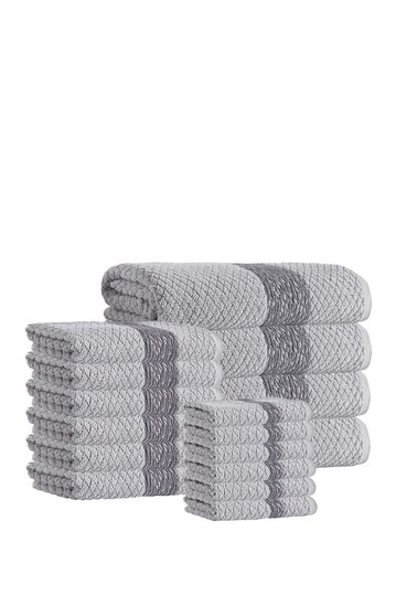 Anton Turkish Cotton 16-Piece Towel Set - Silver Enchante Home