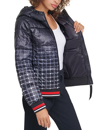 Hooded Ombré-Plaid Puffer Jacket Tommy Hilfiger