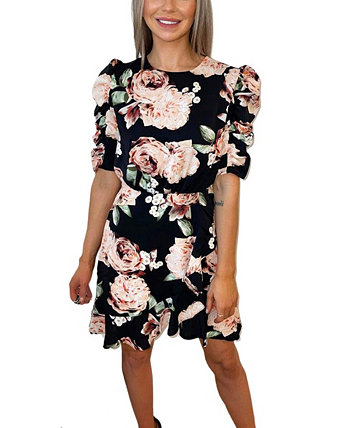 Rose Print Ruched Sleeve Dress AX Paris