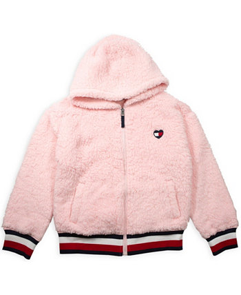 Big Girl Fuzzy Zip Up Hoodie with Heart Flag Patch Tommy Hilfiger