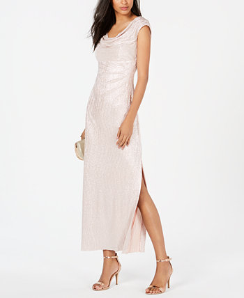 Petite Cowlneck Metallic Gown Connected