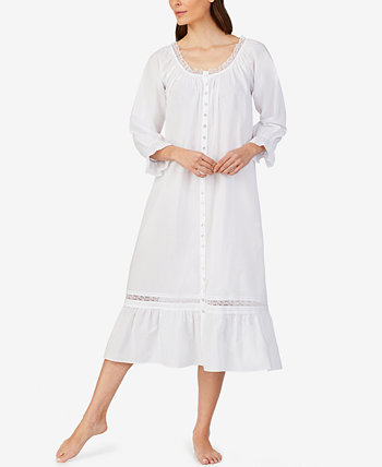 Lace-Trim Cotton Nightgown Eileen West