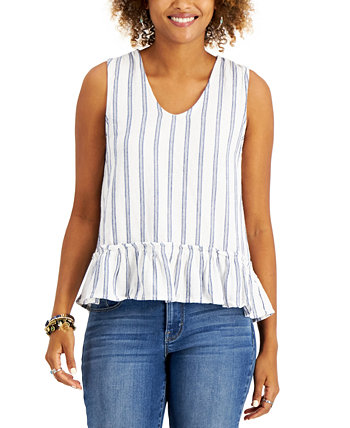 Petite Striped Ruffle-Hem Top, Created for Macy's Style & Co