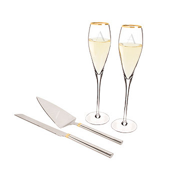 Personalized Gold Champagne Flutes Cake Serving Set Cathy's Concepts