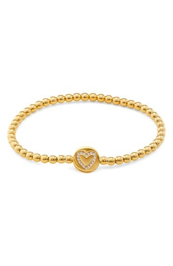 18K Gold Plated CZ Heart Charm Beaded Bracelet NADRI