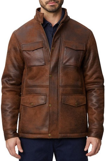 Nubuck Faux Shearling Military Jacket Rainforest