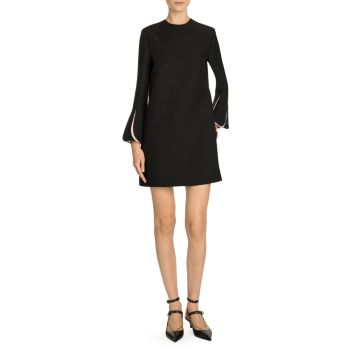 Wool & Silk Contrast Scallop Long Sleeve Shift Dress Valentino