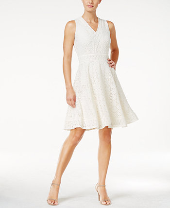 Petite Lace Fit & Flare Dress, Created for Macy's Charter Club