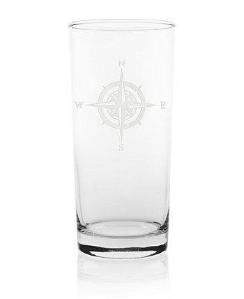 Compass Rose Cooler Highball 15Oz - Set Of 4 Glasses Rolf Glass