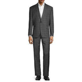 Standard-Fit Windowpane-Print Wool Suit LAUREN Ralph Lauren