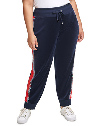 Plus Size Colorblocked Velour Jogger Pants With Micro-Tape Trim Tommy Hilfiger