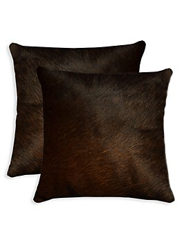 2-Pack Square Cowhide Pillow Set Torino